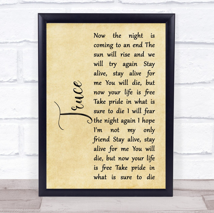 twenty one pilots Truce Rustic Script Song Lyric Music Gift Poster Print