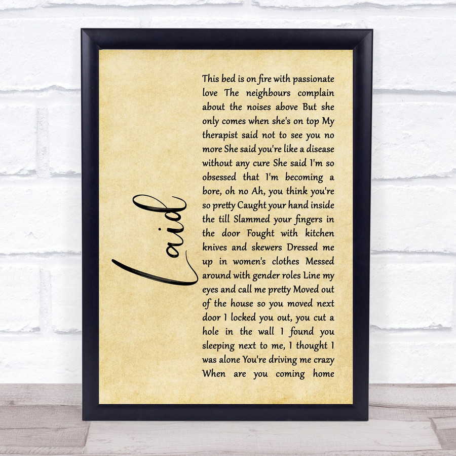 James Laid Rustic Script Song Lyric Music Gift Poster Print