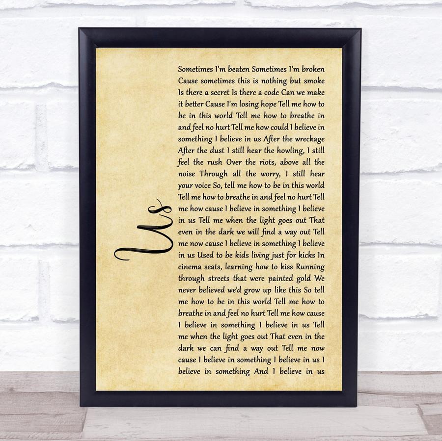 James Bay Us Rustic Script Song Lyric Music Gift Poster Print