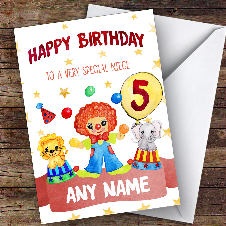 Customised Girls Birthday Card Circus 1St 2Nd 3Rd 4Th 5Th 6Th Niece