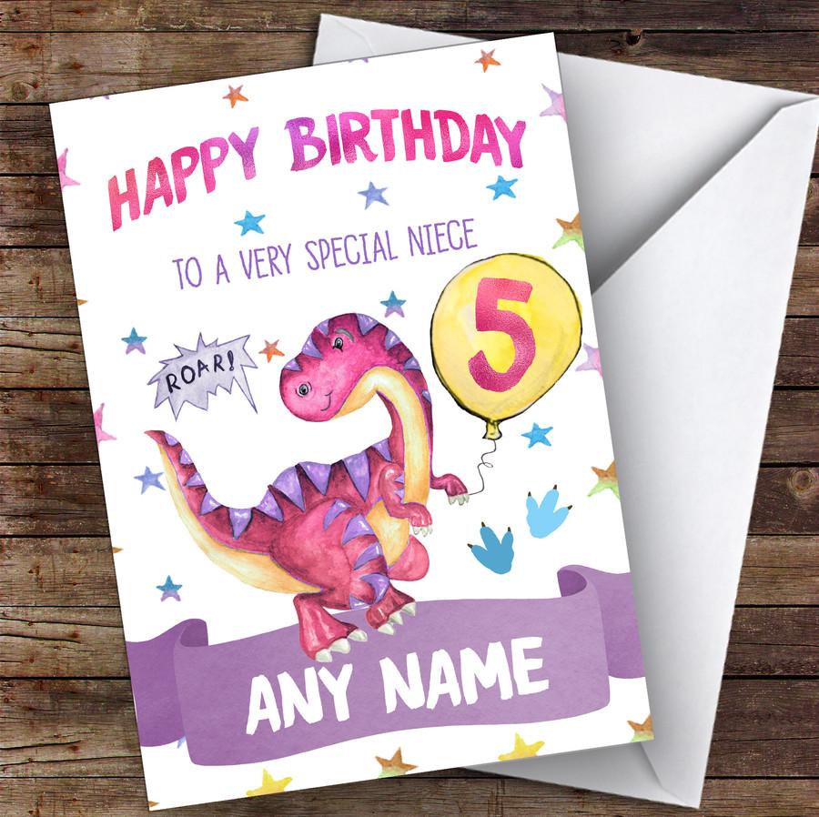 Customised Birthday Card Dinosaur 7Th 8Th 9Th 10Th 11Th 12Th Niece