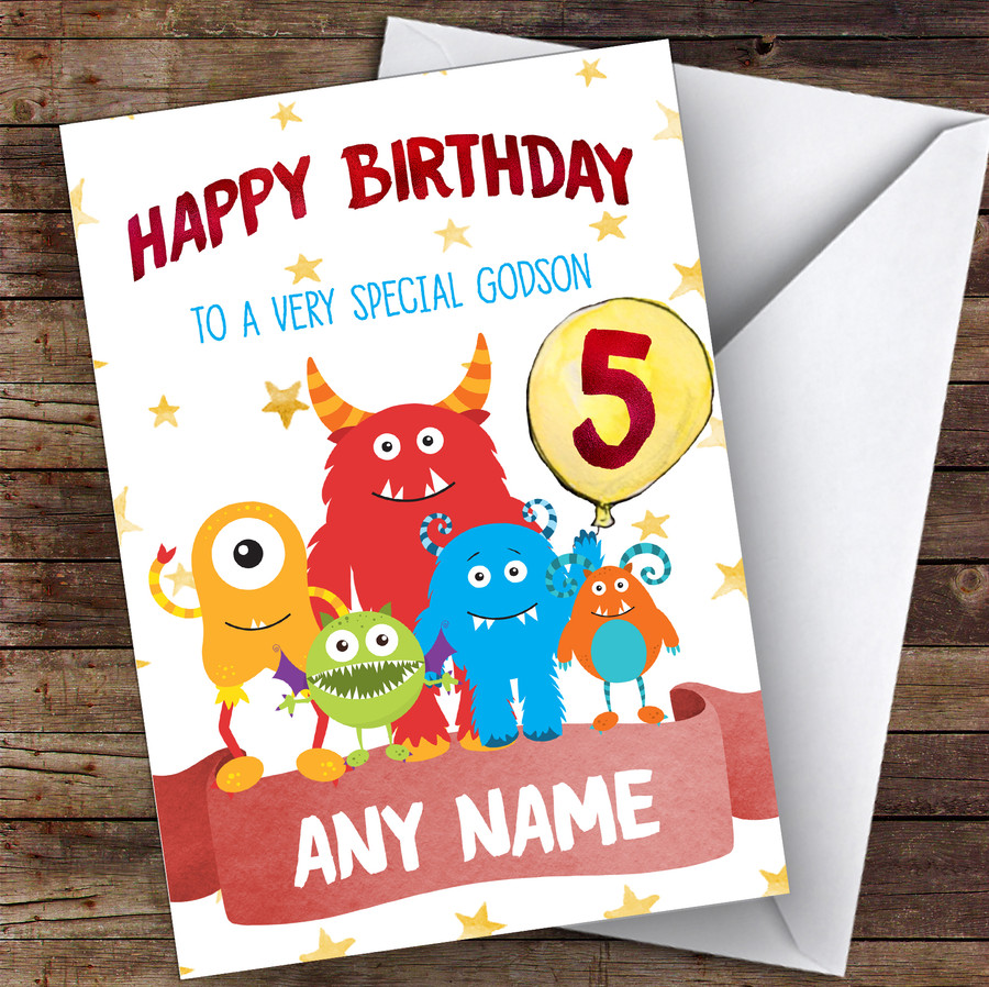 Customised Birthday Card Monster 7Th 8Th 9Th 10Th 11Th 12Th Godson