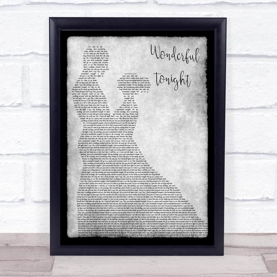 Eric Clapton Wonderful Tonight Man Lady Dancing Grey Song Lyric Quote Print