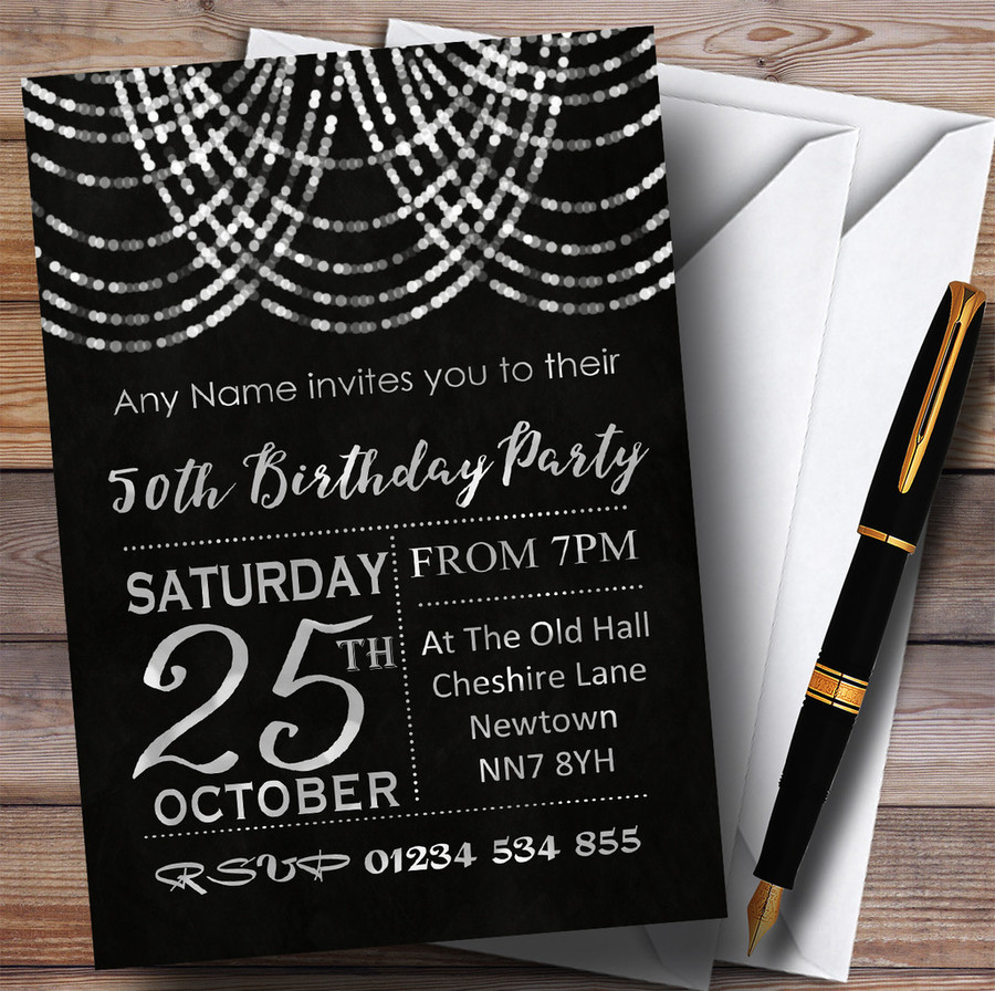 Silver Draped Garland 50th Customised Birthday Party Invitations