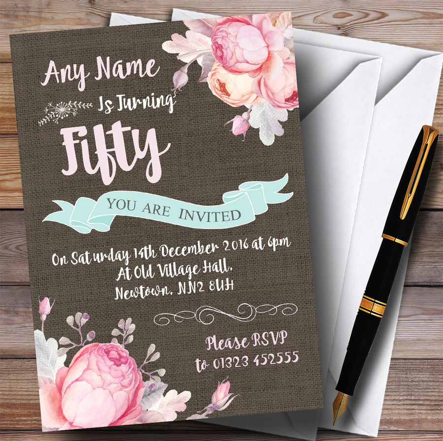 Vintage Burlap Style Floral 50th Customised Birthday Party Invitations