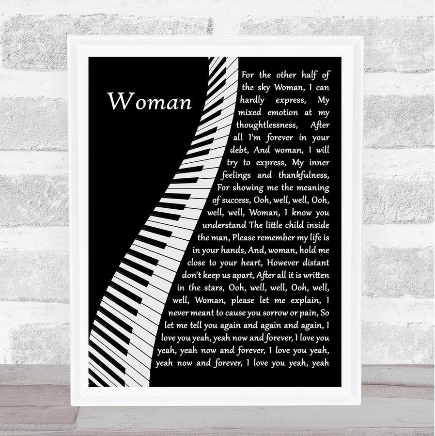 John Lennon Woman Piano Song Lyric Quote Music Framed Print
