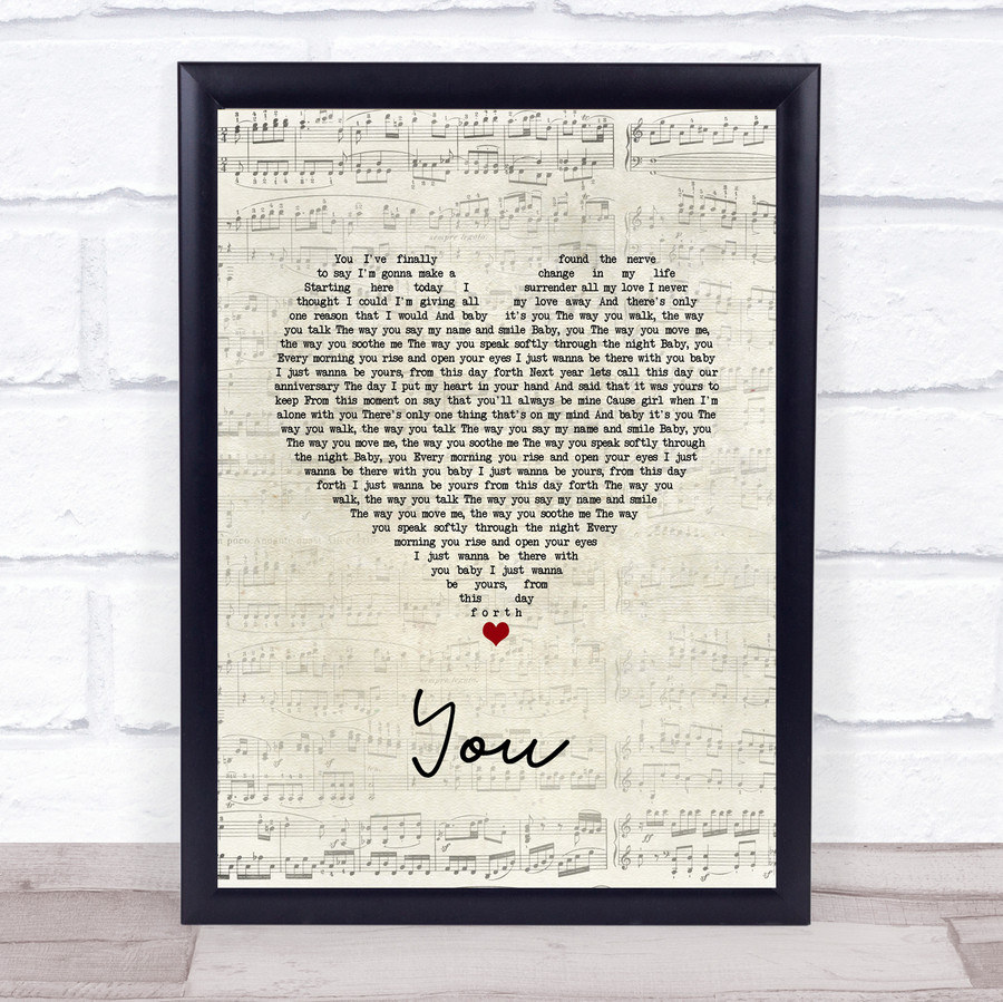 Jess Powell YOU Script Heart Song Lyric Quote Music Framed Print