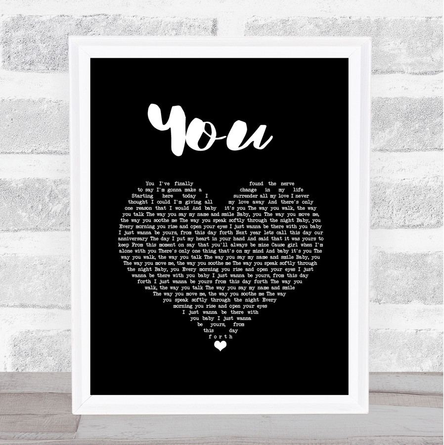 Jess Powell YOU Black Heart Song Lyric Quote Music Framed Print