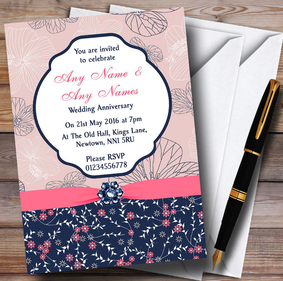 Navy Blue & Coral Pink Floral Customised Anniversary Party Invitations