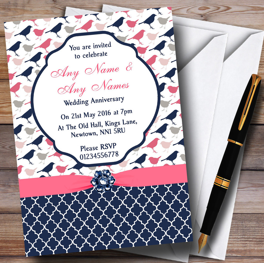 Navy Blue & Coral Pink Shabby Chic Birds Customised Anniversary Party Invitations