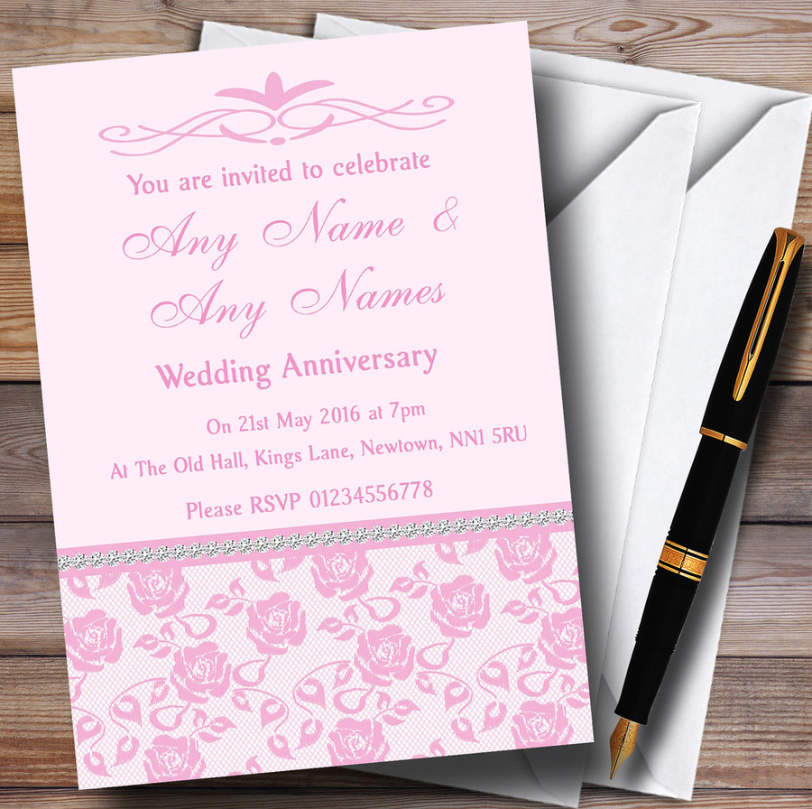 Pretty Baby Rose Pink Floral Diamante Customised Anniversary Party Invitations
