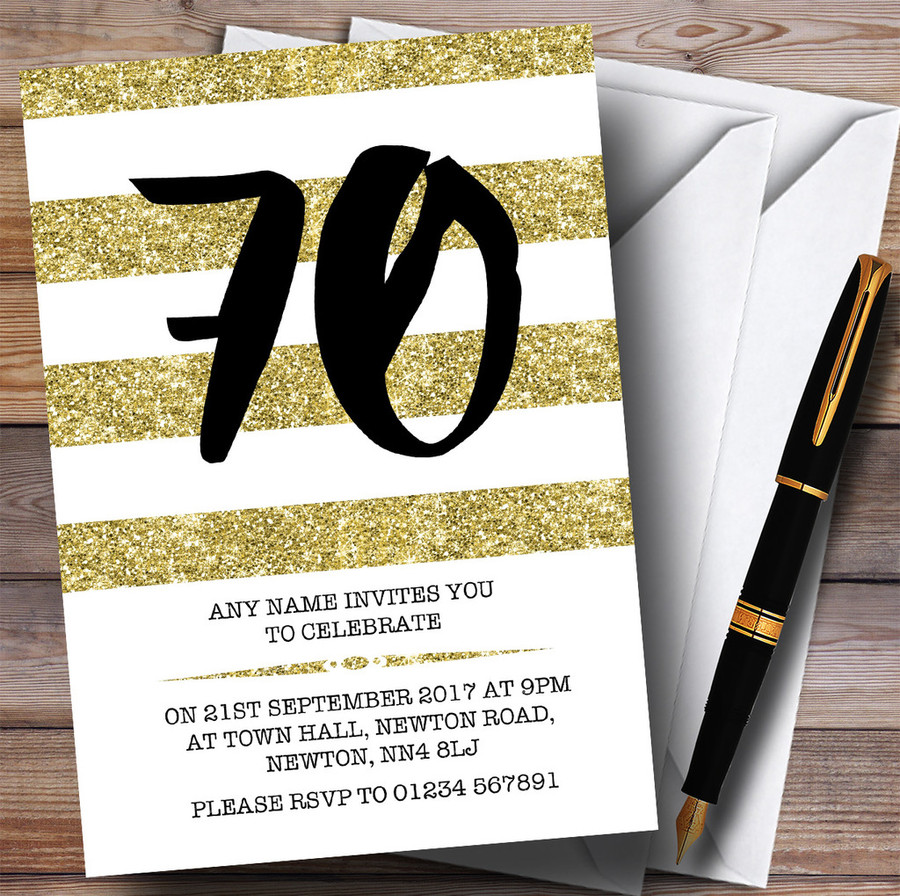 Glitter Gold & White Striped 70th Customised Birthday Party Invitations