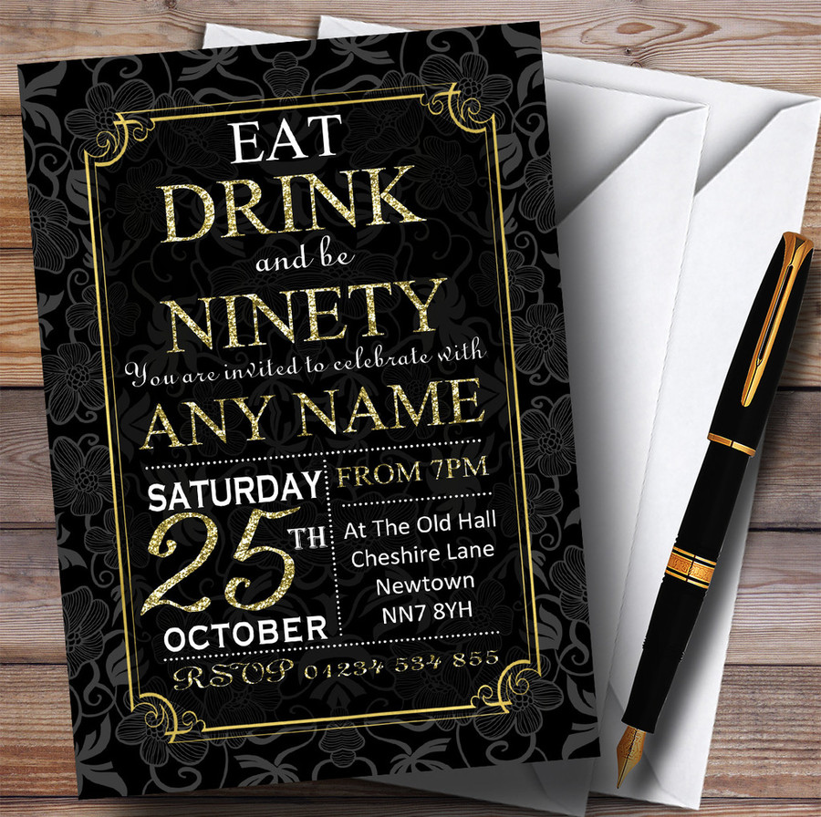 Black & Gold Flowers 90th Customised Birthday Party Invitations