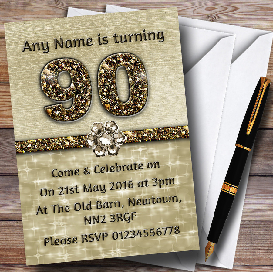 Titanium Gold Sparkly 90Th Customised Birthday Party Invitations
