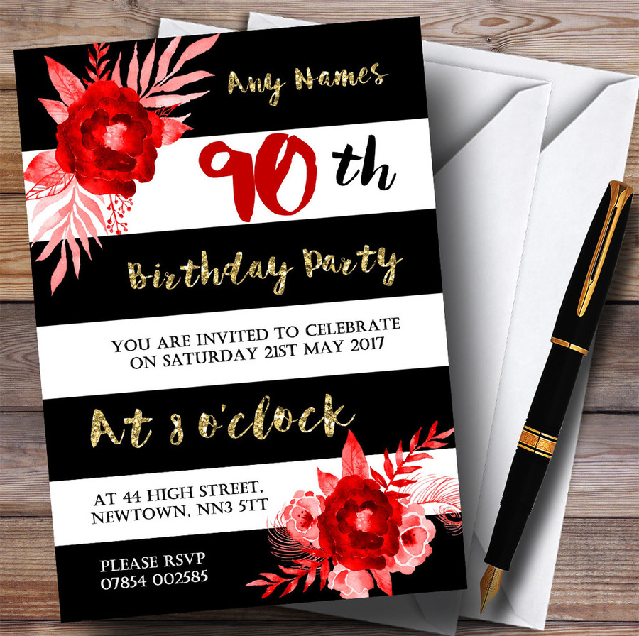 Black White Striped Gold Red Flower 90th Customised Birthday Party Invitations