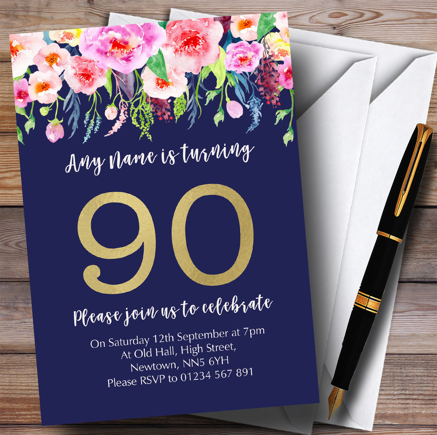 Blue & Pink Watercolour Flowers 90th Customised Birthday Party Invitations