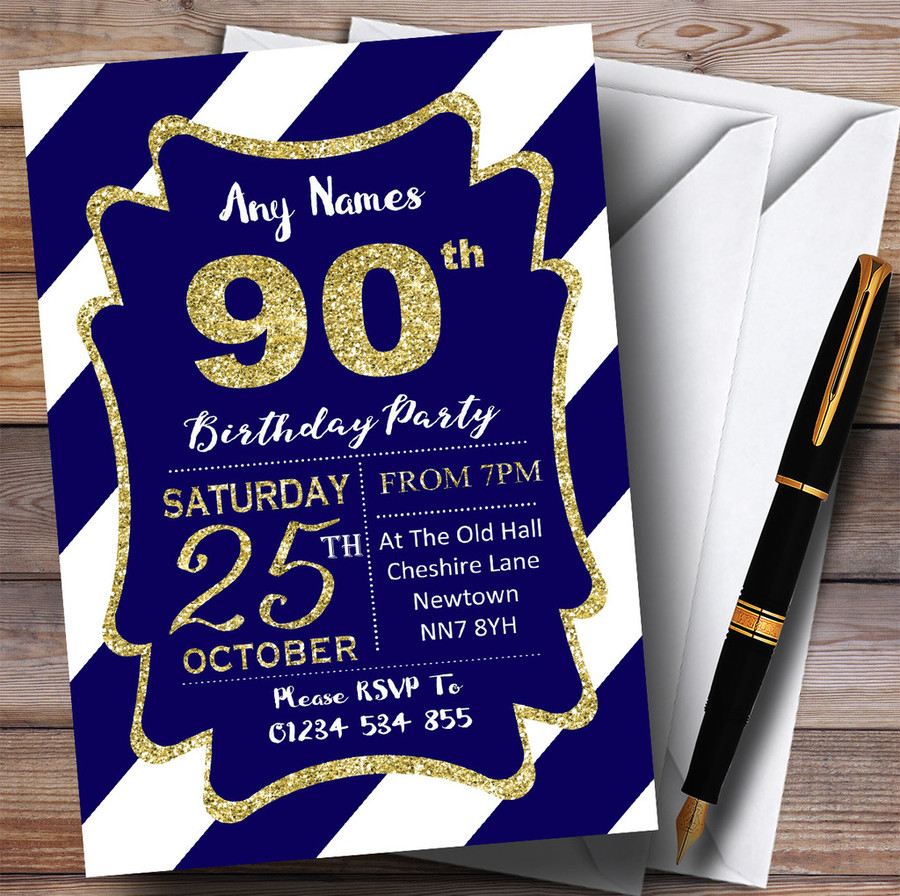 Blue White Diagonal Stripes Gold 90th Customised Birthday Party Invitations