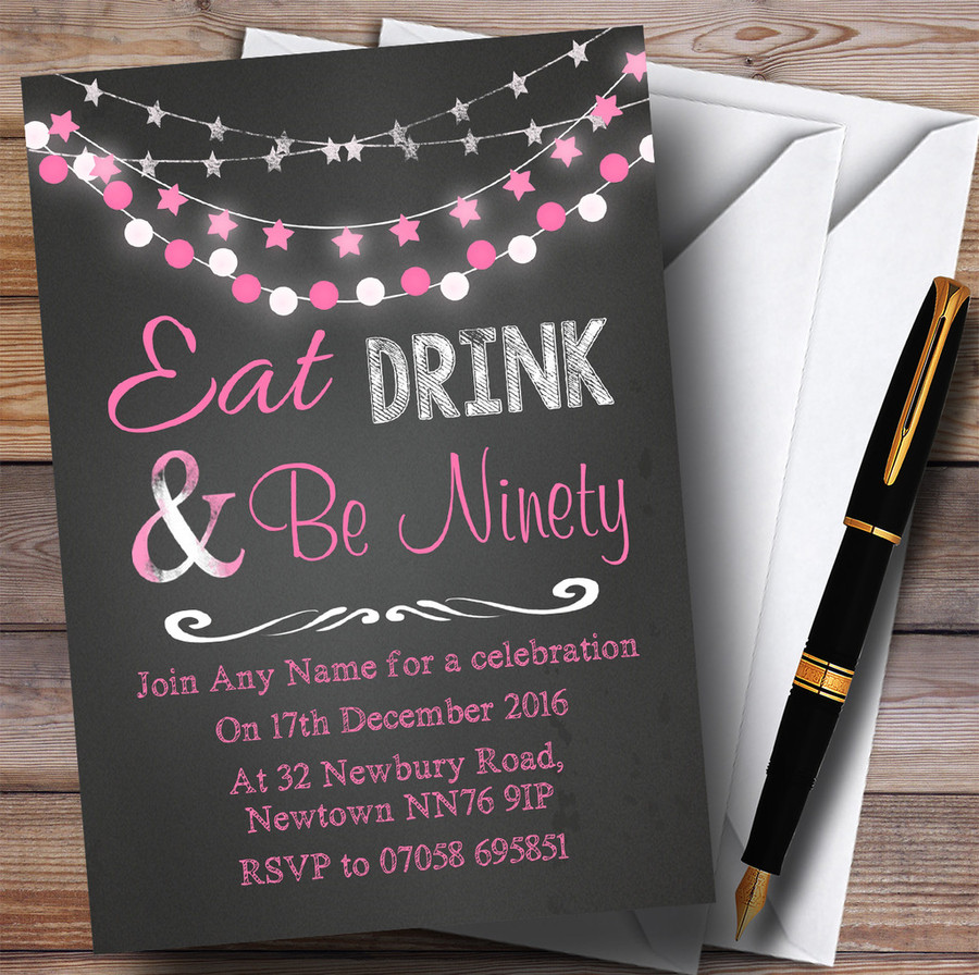 Chalk Pink Lights 90th Customised Birthday Party Invitations