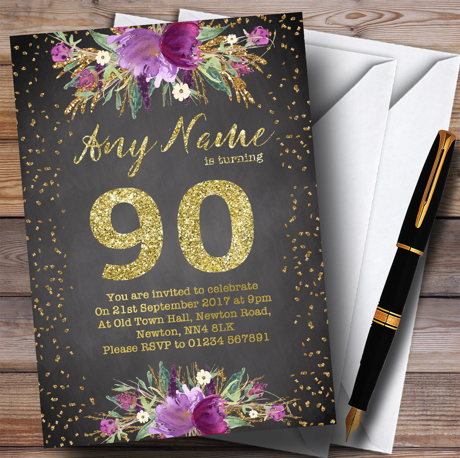 Chalk Watercolour Purple Gold 90th Customised Birthday Party Invitations