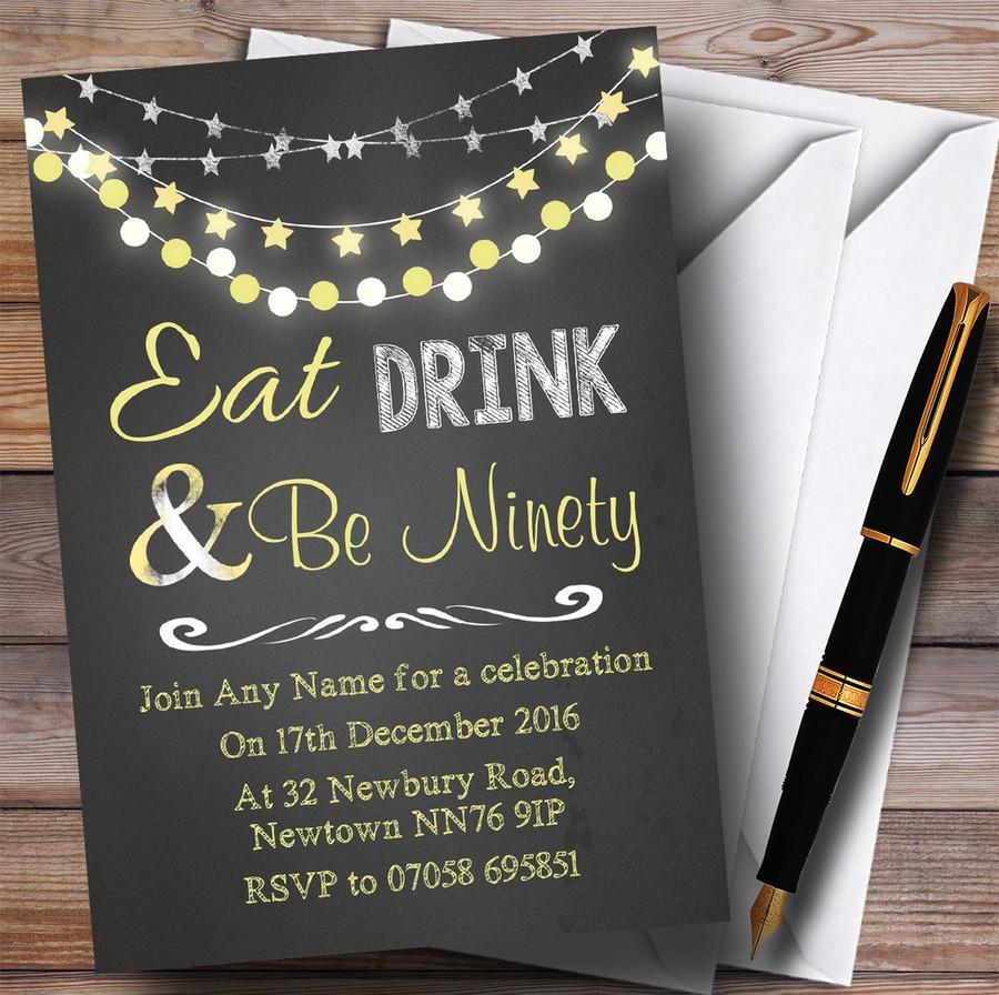 Chalk Yellow Lights 90th Customised Birthday Party Invitations