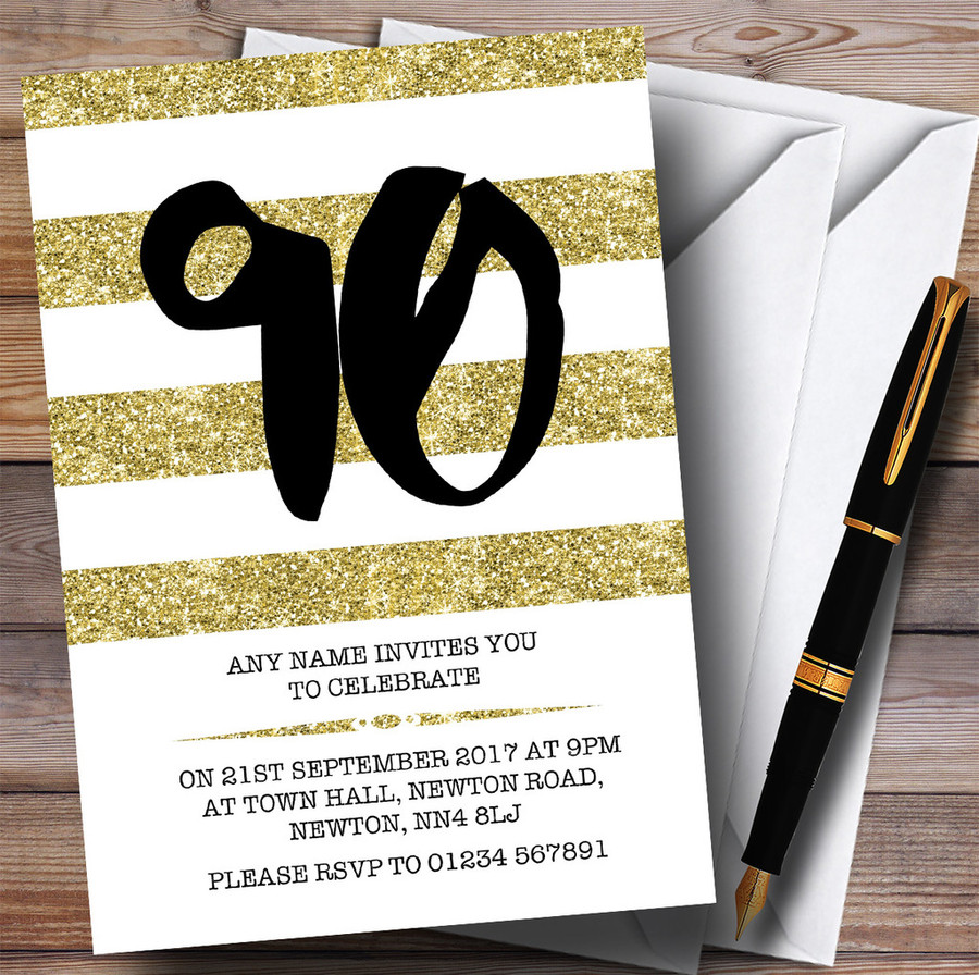 Glitter Gold & White Striped 90th Customised Birthday Party Invitations