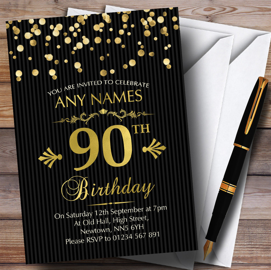Gold Confetti Black Striped 90th Customised Birthday Party Invitations