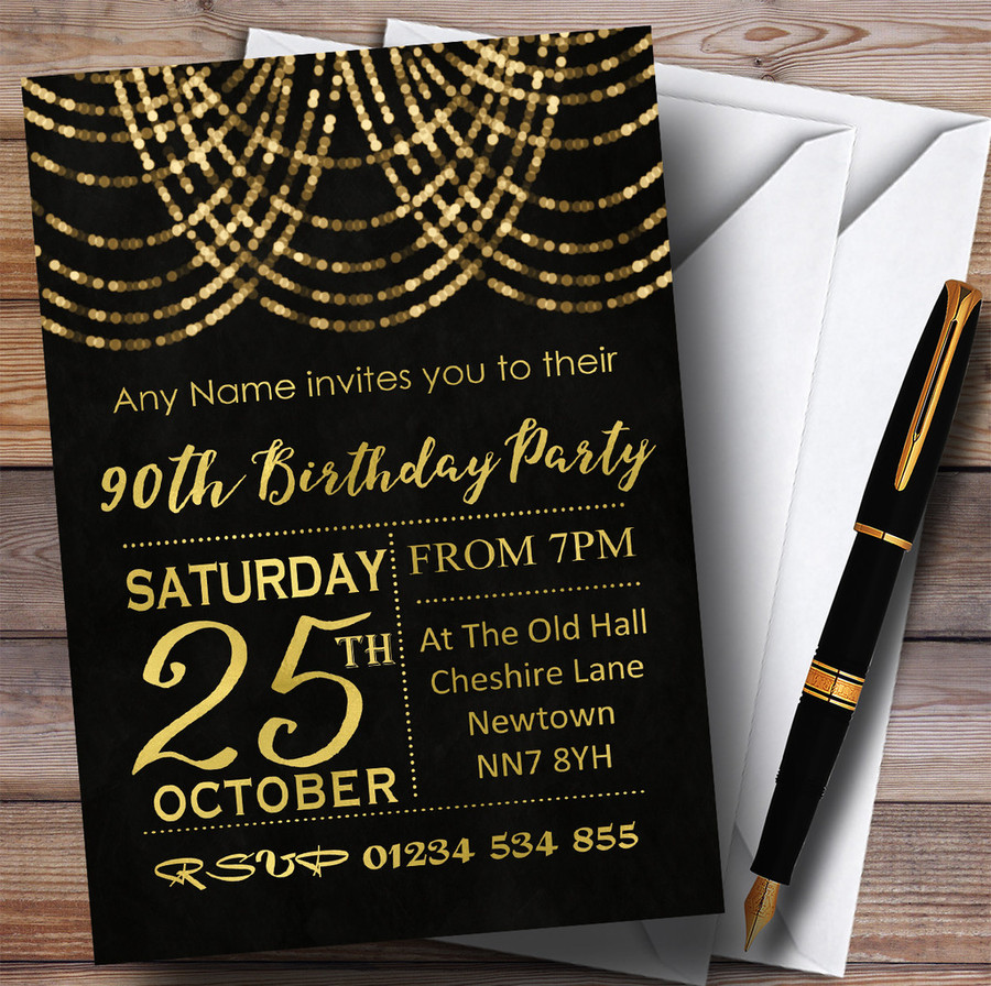 Gold Draped Garland 90th Customised Birthday Party Invitations