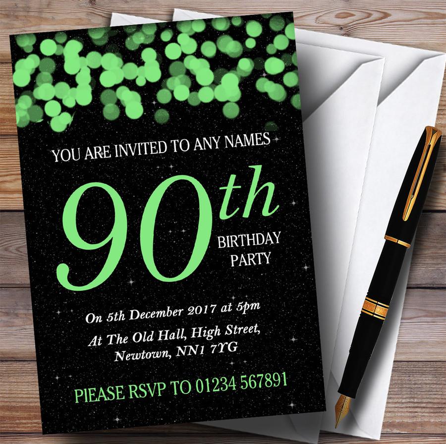 Green Bokeh & Stars 90th Customised Birthday Party Invitations