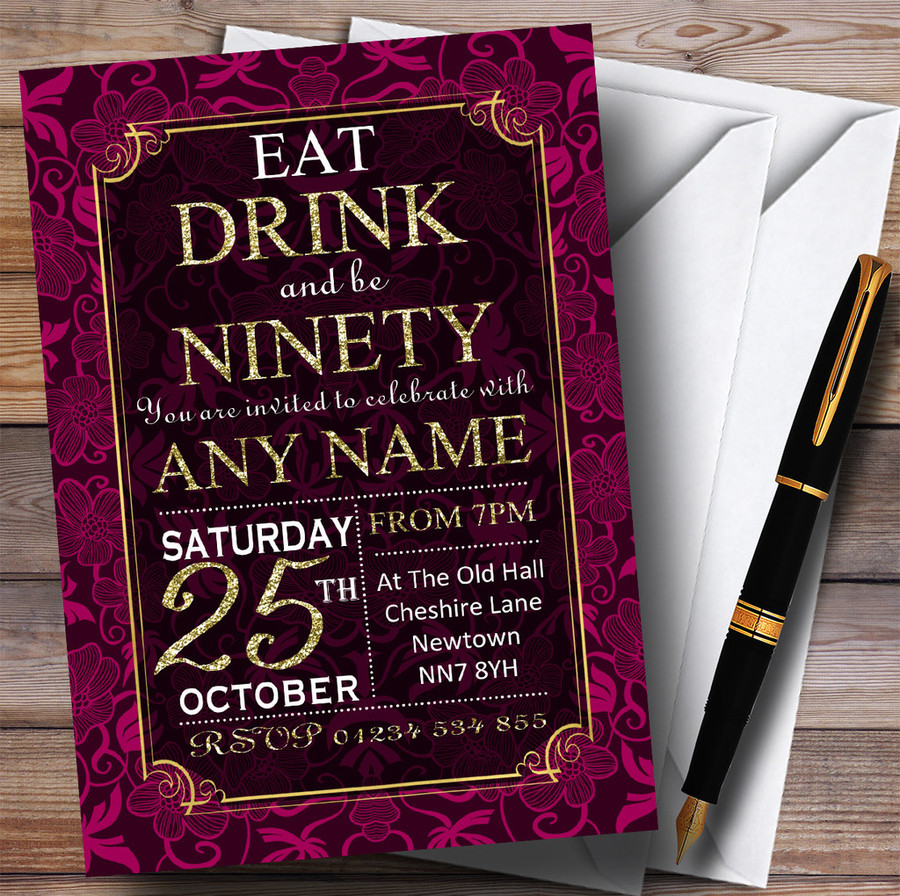 Pink & Gold Flowers 90th Customised Birthday Party Invitations