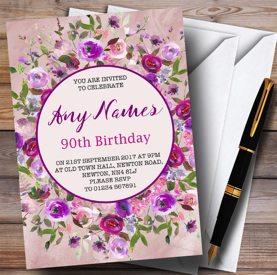 Pink & Purple Watercolour Floral 90th Customised Birthday Party Invitations