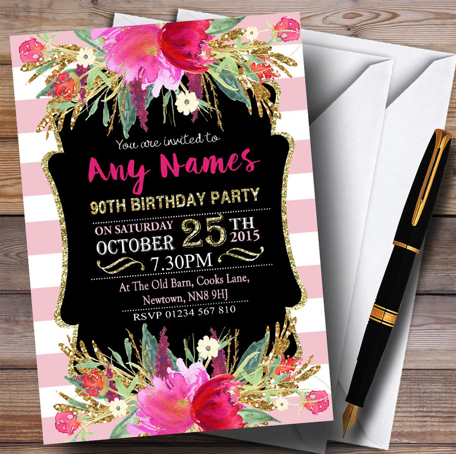 Pink & White Striped Floral 90th Customised Birthday Party Invitations