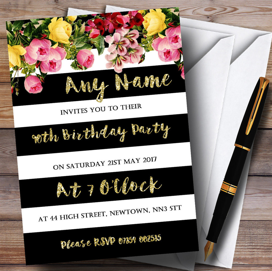 Pink Floral Black White Gold 90th Customised Birthday Party Invitations
