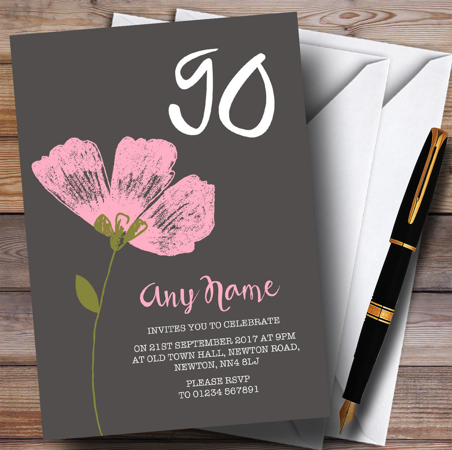 Pink Watercolour Flower 90th Customised Birthday Party Invitations