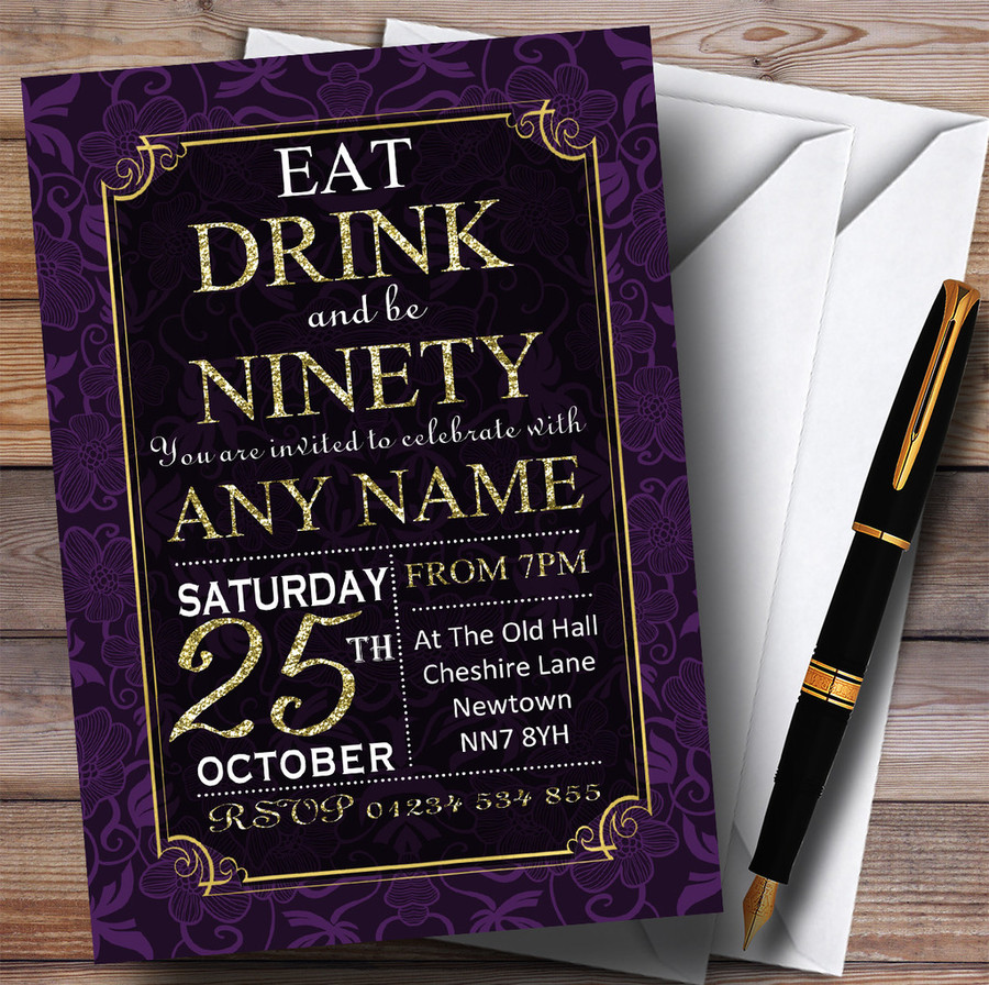 Purple & Gold Flowers 90th Customised Birthday Party Invitations