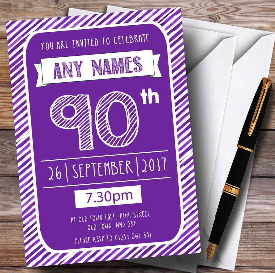 Purple & White Stripy Deco 90th Customised Birthday Party Invitations