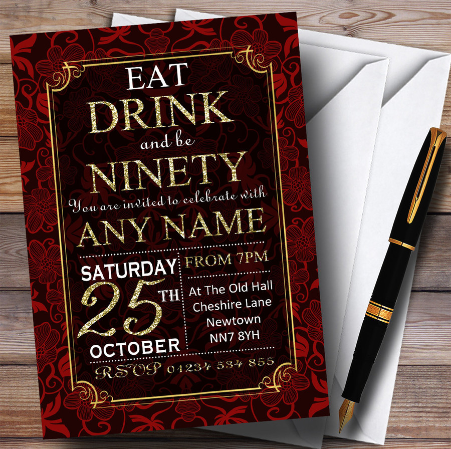 Red & Gold Flowers 90th Customised Birthday Party Invitations