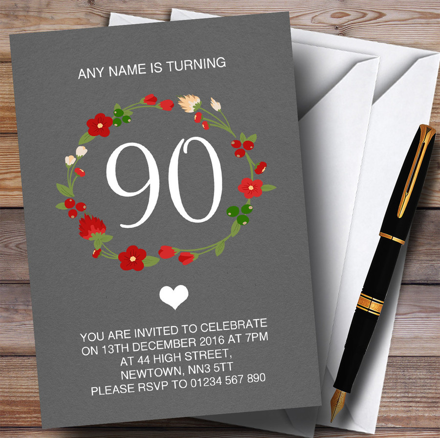 Red Floral Wreath Grey Rustic 90th Customised Birthday Party Invitations