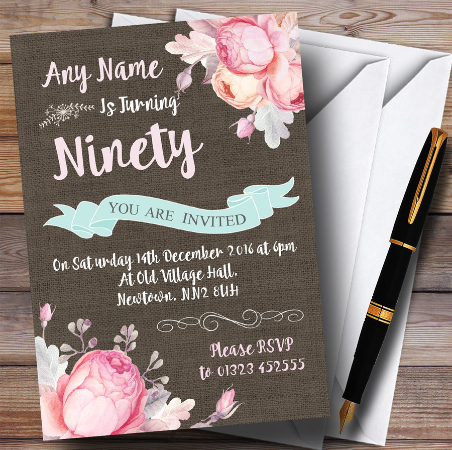 Vintage Burlap Style Floral 90th Customised Birthday Party Invitations
