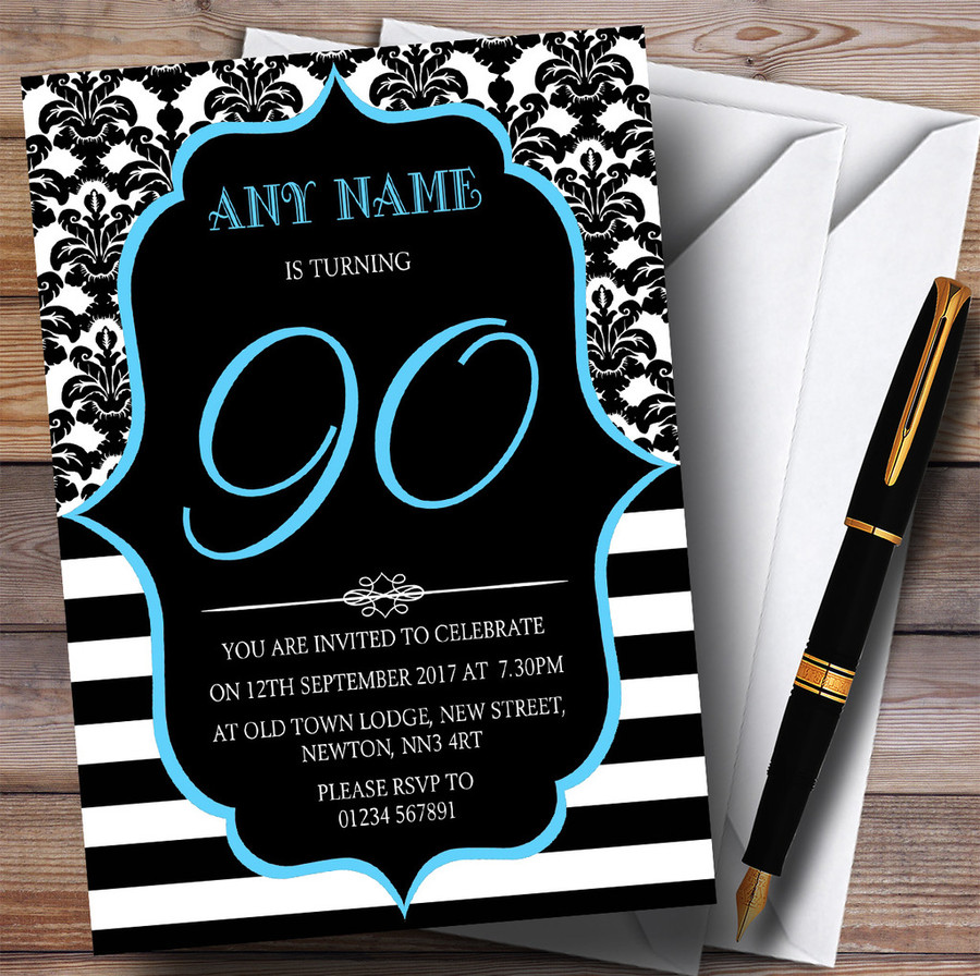 Vintage Damask Blue 90th Customised Birthday Party Invitations