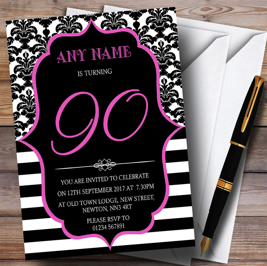 Vintage Damask Pink 90th Customised Birthday Party Invitations