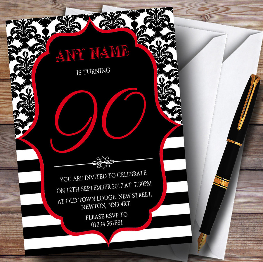 Vintage Damask Red 90th Customised Birthday Party Invitations