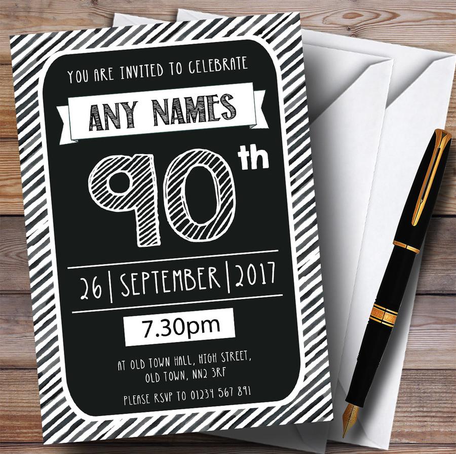Black & White Stripy Deco 90th Customised Birthday Party Invitations