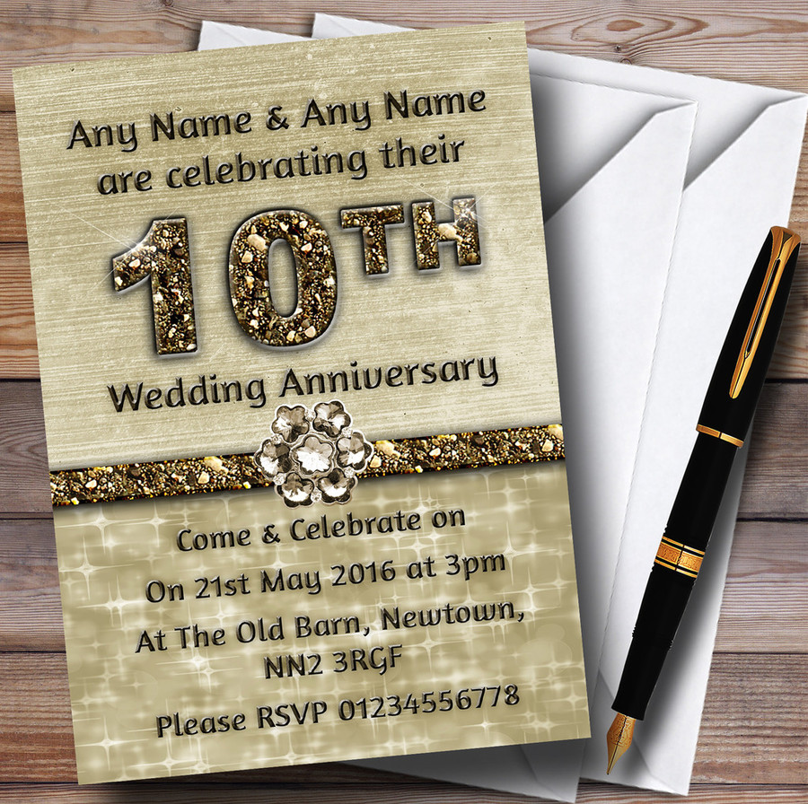 Titanium Gold Sparkly 10Th Customised Anniversary Party Invitations