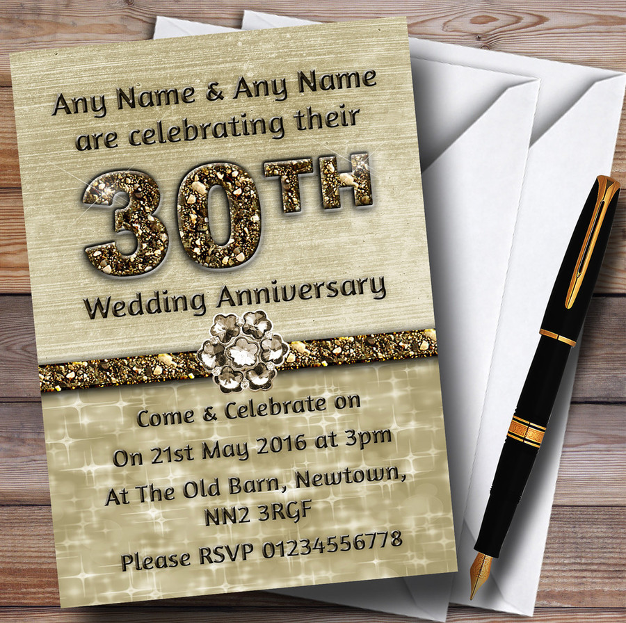 Titanium Gold Sparkly 30Th Customised Anniversary Party Invitations