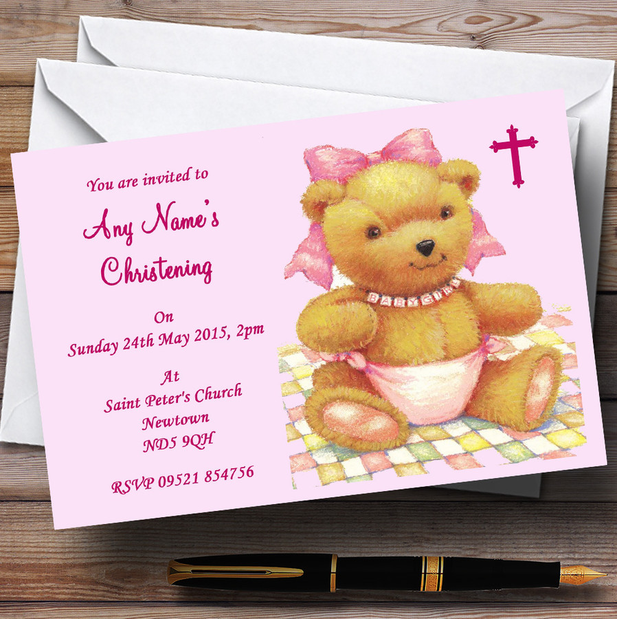 Pink Baby Girl Christening Party Customised Invitations