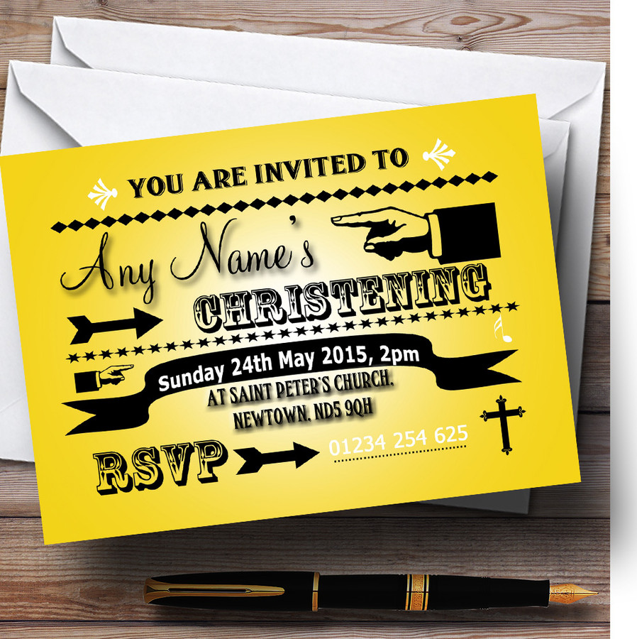 Yellow Typography Word Art Vintage Christening Party Customised Invitations
