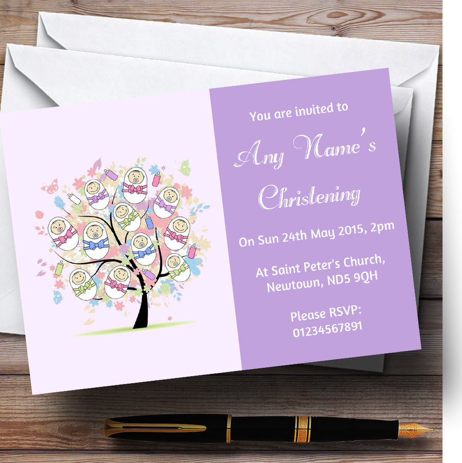 Baby Tree Lilac Christening Party Customised Invitations