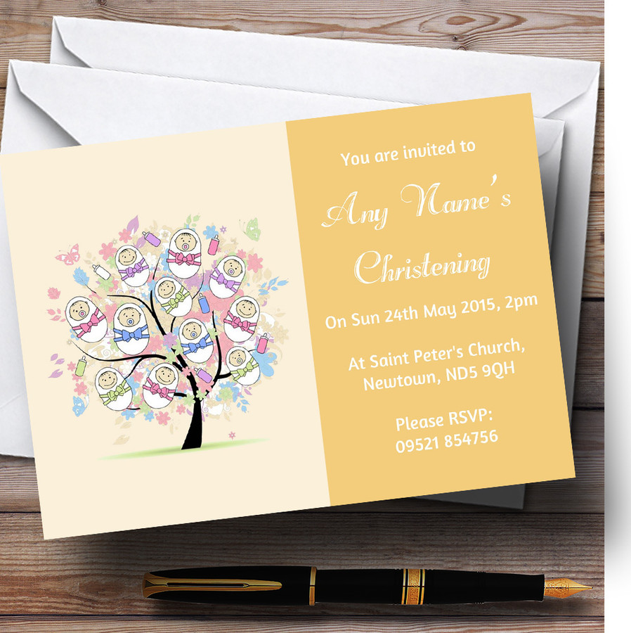 Baby Tree Orange Christening Party Customised Invitations
