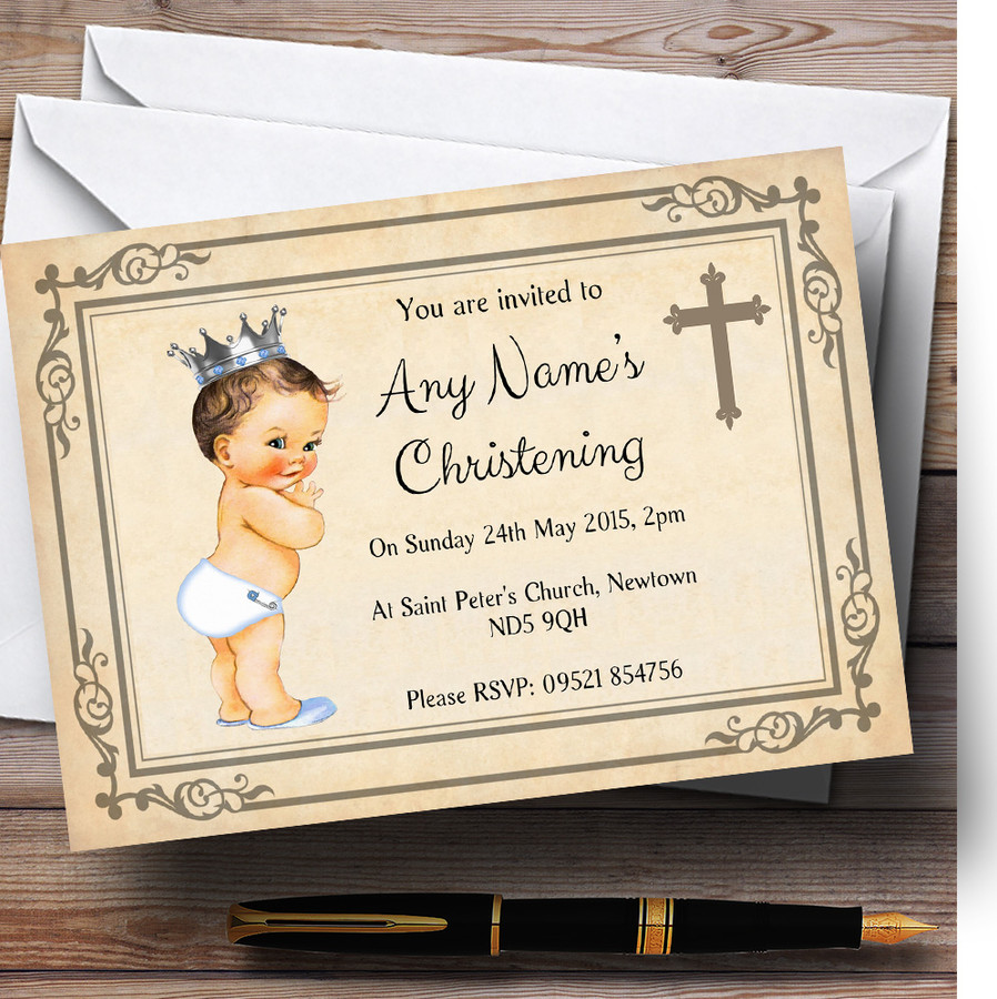 Baby Boy With Crown Christening Party Customised Invitations