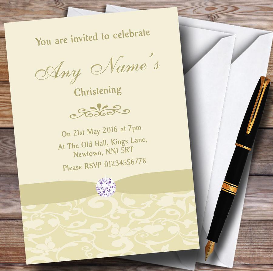 Cream Pale Gold Beige Vintage Floral Damask Diamante Customised Christening Invitations